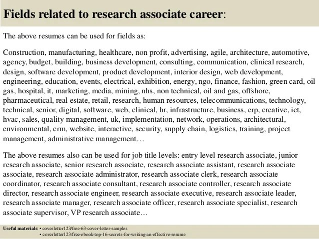 cover letters for research associate jobs samples bogas - Research Associate Cover Letter