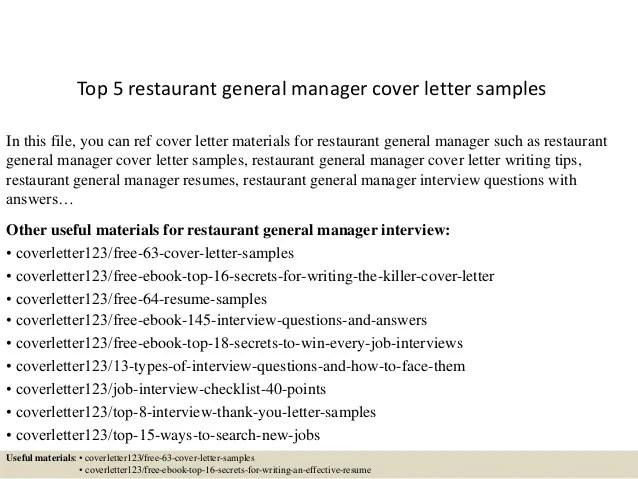 Top 5 restaurant general manager cover letter samples