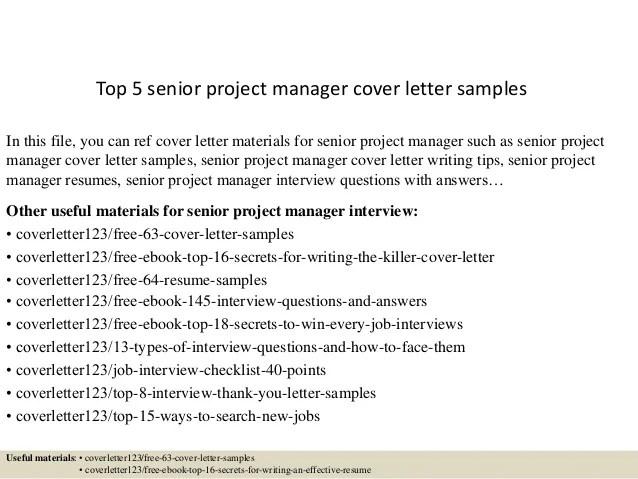 senior manager cover letter
