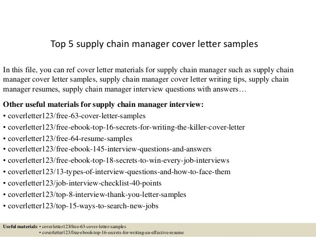 Top 5 supply chain manager cover letter samples