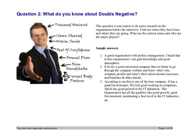 Top 7 Double Negative Interview Questions And Answers