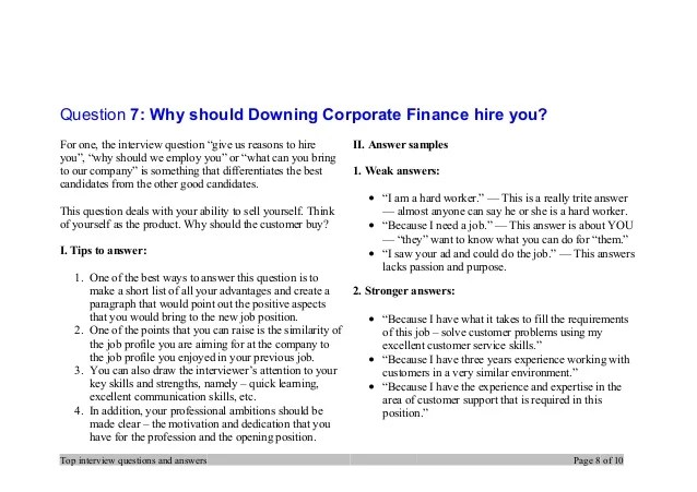 Top 7 Downing Corporate Finance Interview Questions And