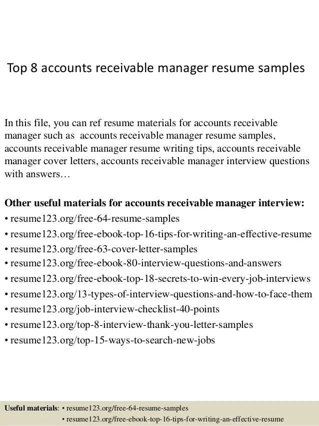 Top 8 Accounts Receivable Manager Resume Samples 1 638 ?cb=1427985640