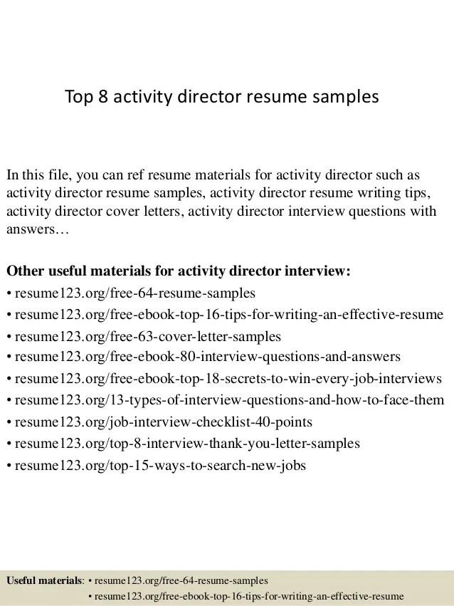 Activities Resume Examples
