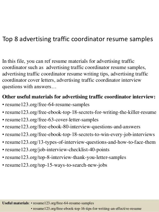 advertising traffic coordinator resume sample