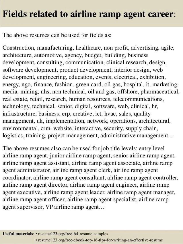 Airline Ramp Agent Resume Samples | All Document Resume