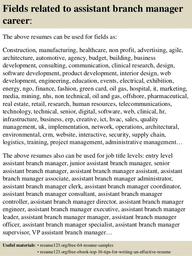 Top 8 Assistant Branch Manager Resume Samples  Branch Manager Resume