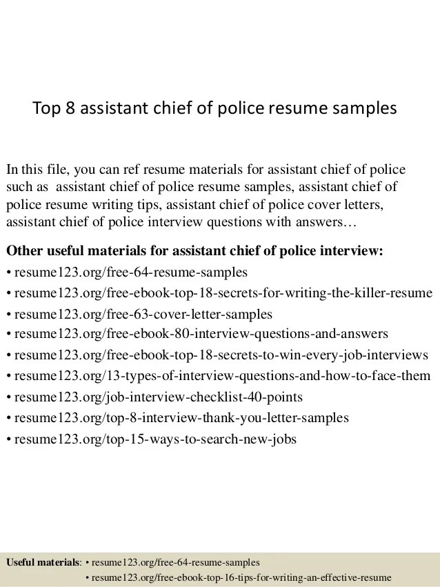 assistant chief resume samples