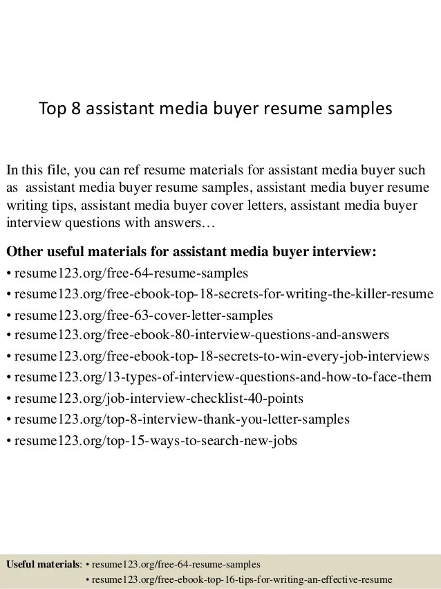 Top 8 Assistant Media Buyer Resume Samples 1 638 ?cb=1436930413