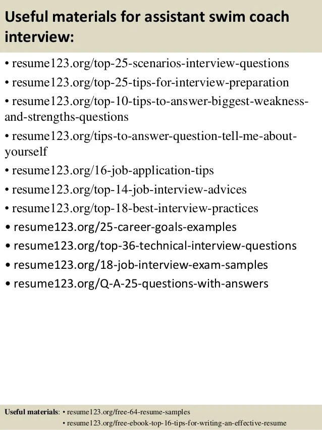 Top 8 Assistant Swim Coach Resume Samples