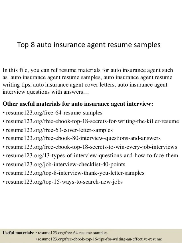 Auto Insurance Agent Sample Resume Agent Resume Example
