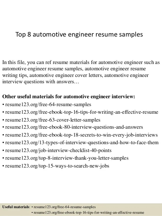 Top 8 automotive engineer resume samples