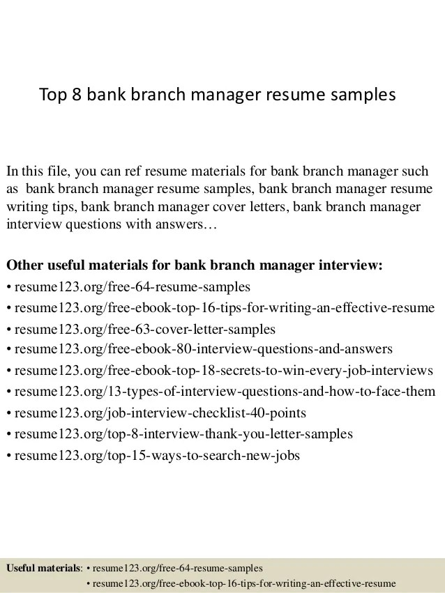 Top 8 Bank Branch Manager Resume Samples 1 638 ?cb=1427853690