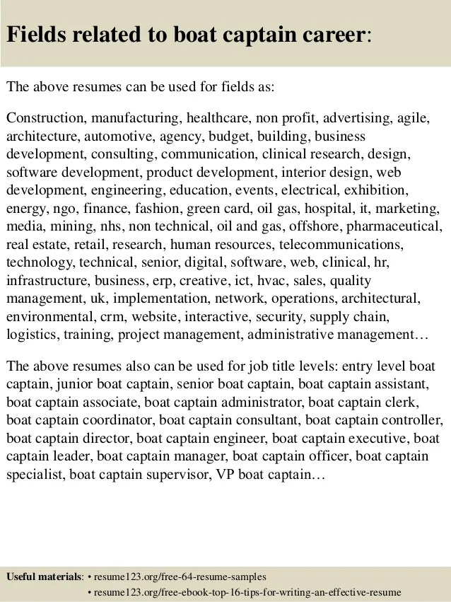 Top 8 Boat Captain Resume Samples