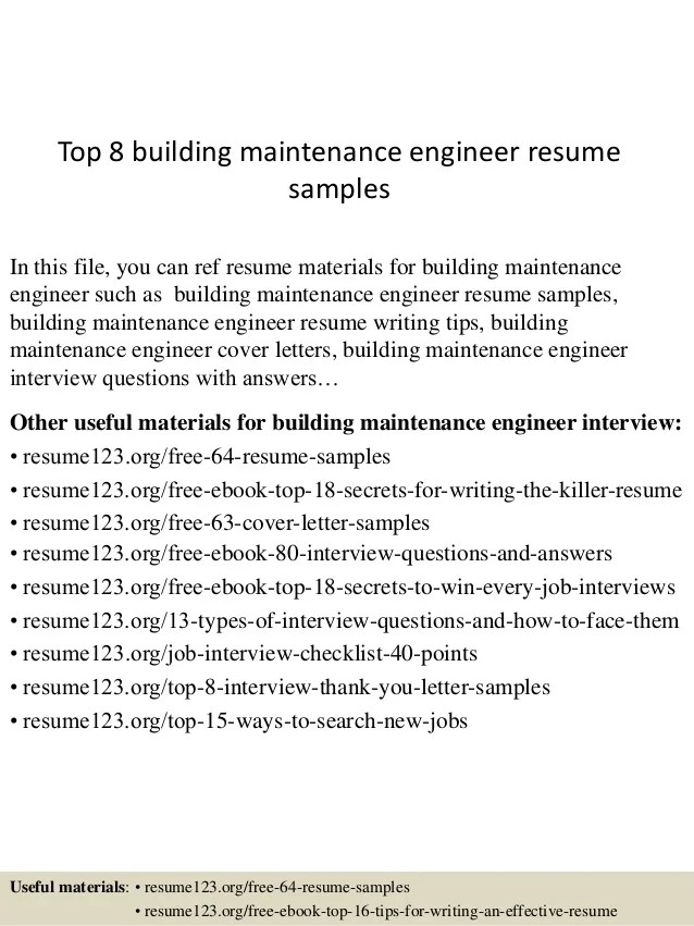 Top 8 Building Maintenance Engineer Resume Samples 1 638 ?cb=1431767457