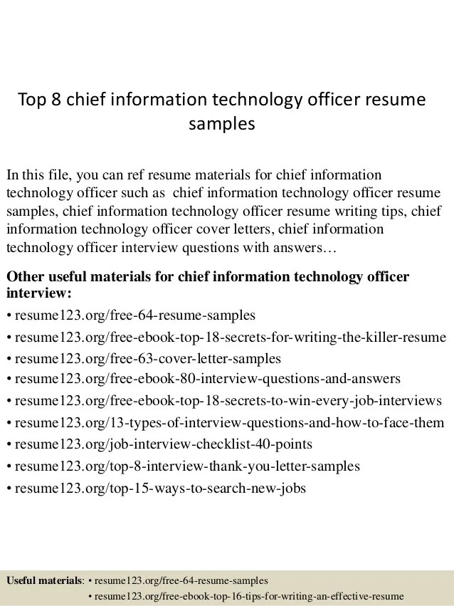 Top 8 Chief Information Technology Officer Resume Samples