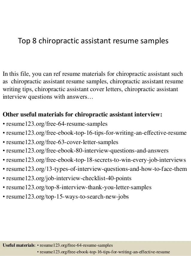 Top 8 Chiropractic Assistant Resume Samples