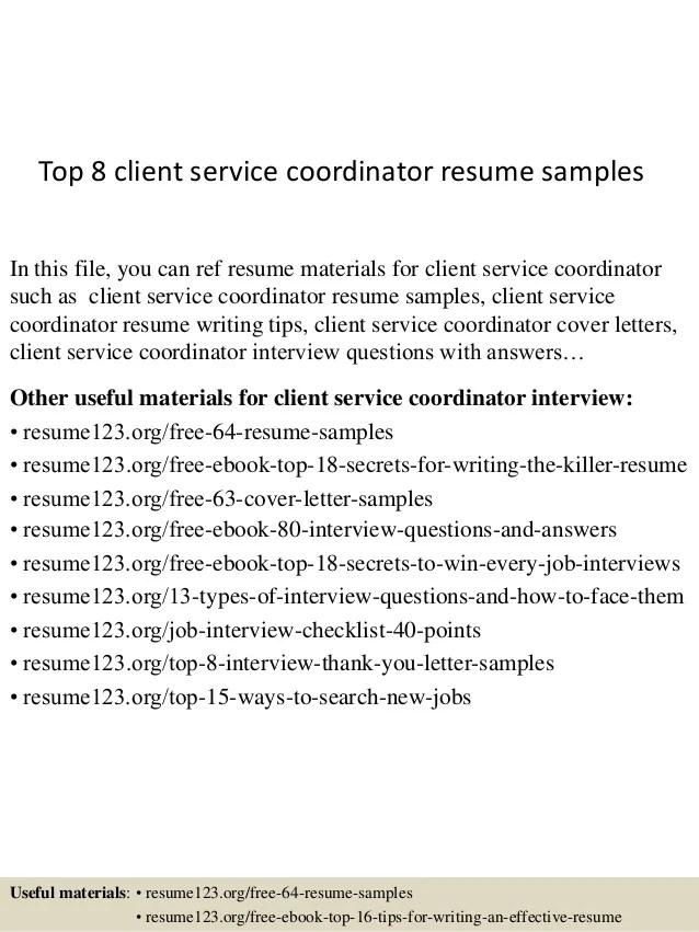 Client Service Coordinator Cover Letter