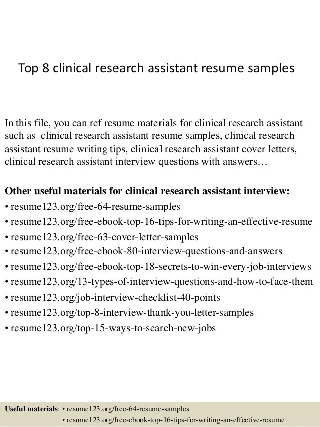 Top 8 Clinical Research Assistant Resume Samples 1 638 ?cb=1428557178