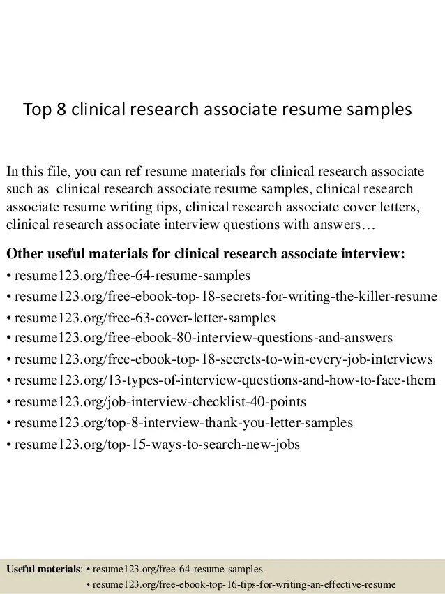 Top 8 Clinical Research Associate Resume Samples 1 638 ?cbu003d1429928681