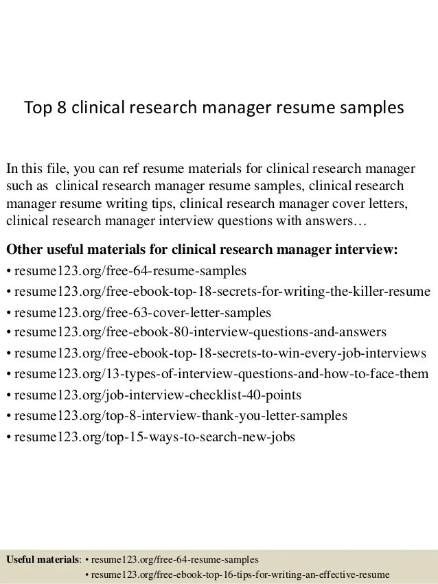 Top 8 clinical research manager resume samples