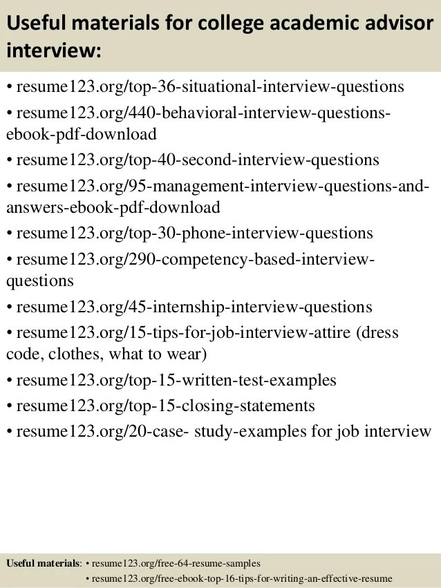Academic Advisor Resume Examples