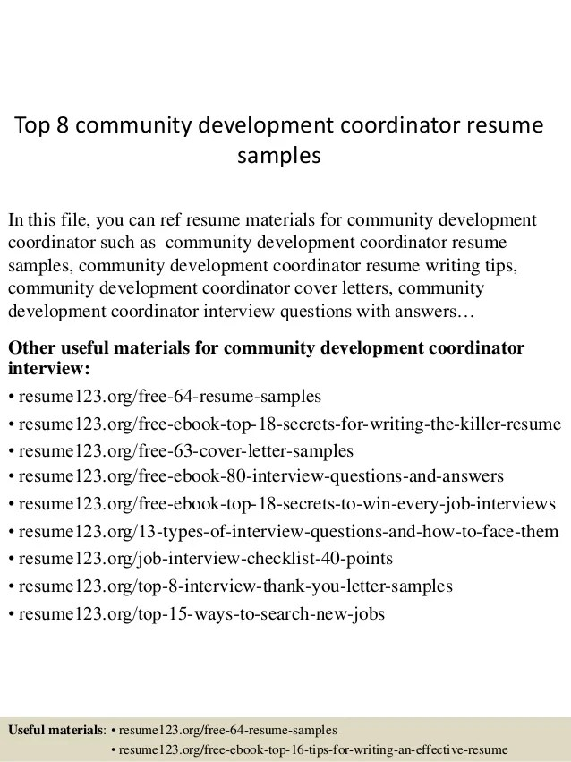 Top 8 Community Development Coordinator Resume Samples
