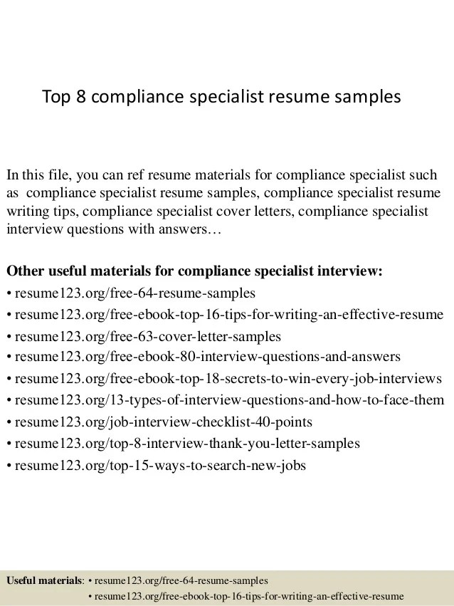 Top 8 compliance specialist resume samples