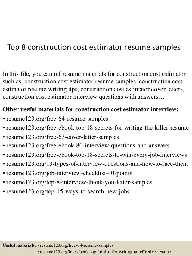 Top 8 Construction Cost Estimator Resume Samples 1 638 ?cb=1437635910