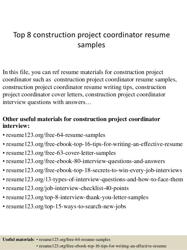 Top 8 Construction Project Coordinator Resume Samples 1 638 ?cb=1427858341