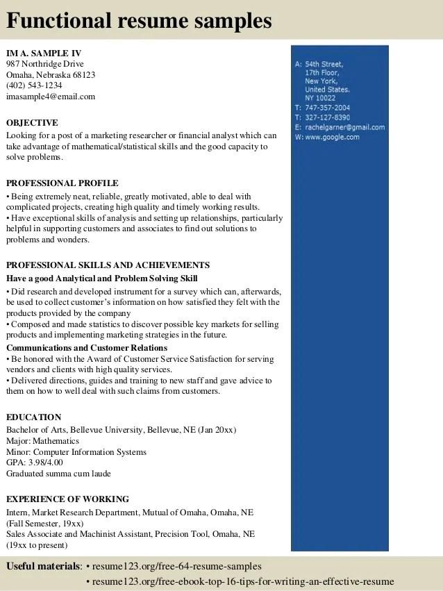 free sample functional resume format