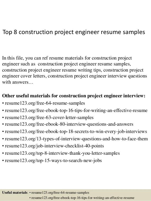 Top 8 Construction Project Engineer Resume Samples 1 638 ?cb=1428369746