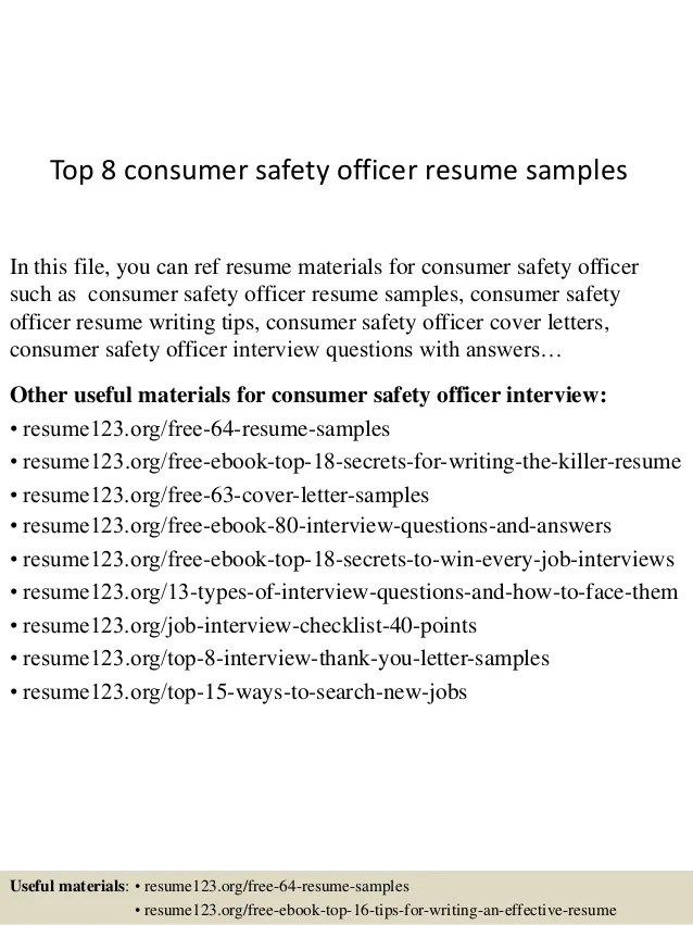 consumer safety officer resume samples