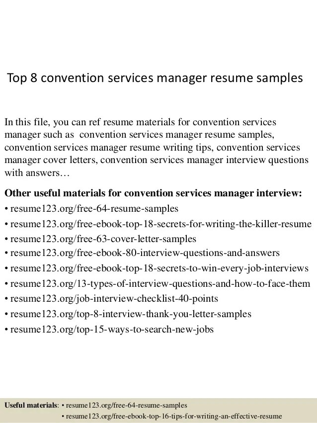 Top 8 convention services manager resume samples
