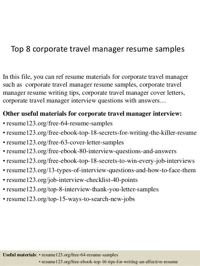 Top 8 corporate travel manager resume samples
