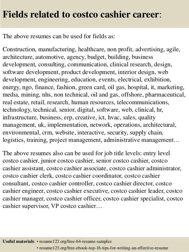 costco cashier resume sample