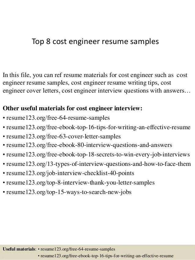Top 8 Cost Engineer Resume Samples