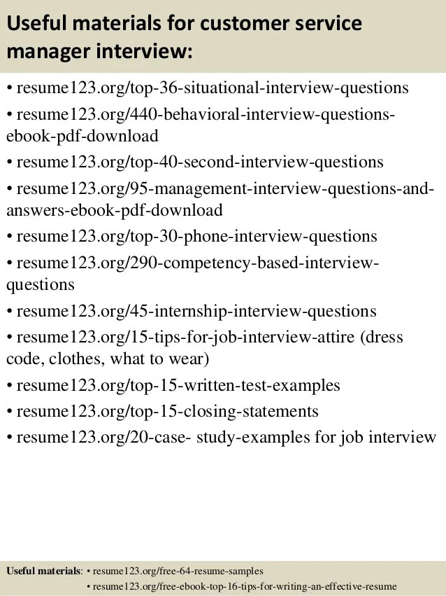 Customer Service Manager Responsibilities Resume