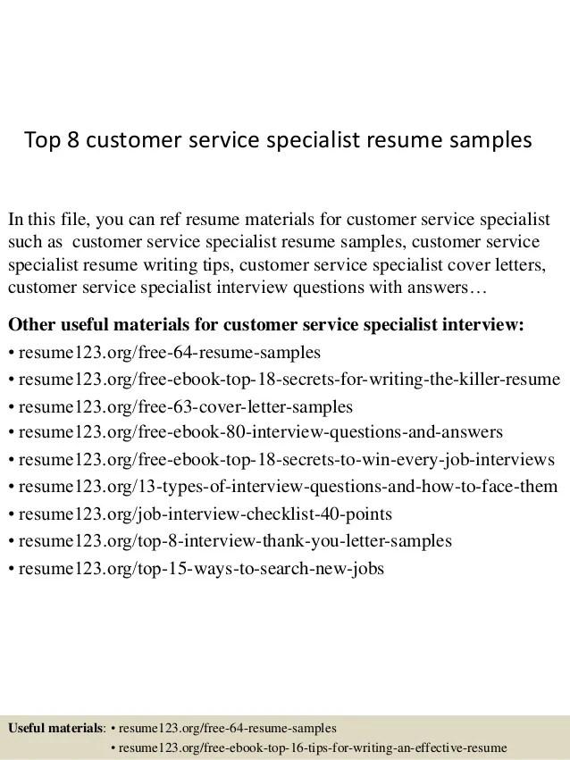 Top 8 Customer Service Specialist Resume Samples 1 638 ?cb=1429930206