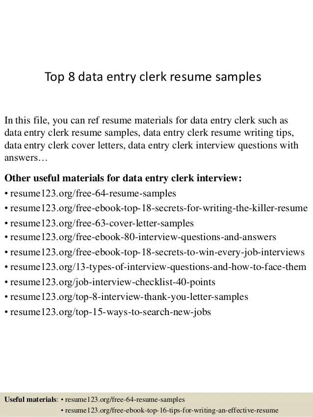 Top 8 Data Entry Clerk Resume Samples 1 638 ?cb=1429931666