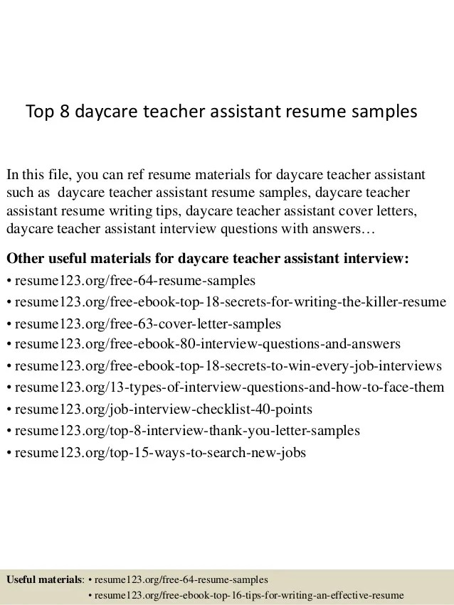 resume for teacher assistant in daycare