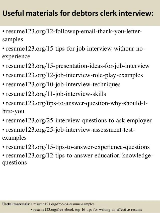 Top 8 debtors clerk resume samples
