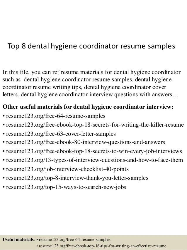 Dental Hygiene Resume Examples