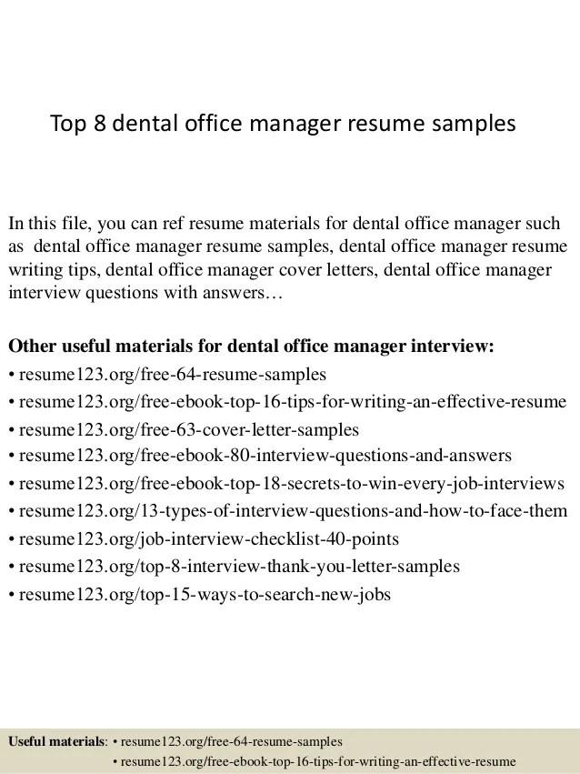 top 8 dental office manager resume samples 1 638 cb1427854382 - Office Manager Resume Sample
