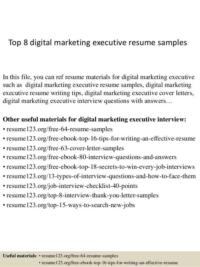 Digital Marketing Resume Examples
