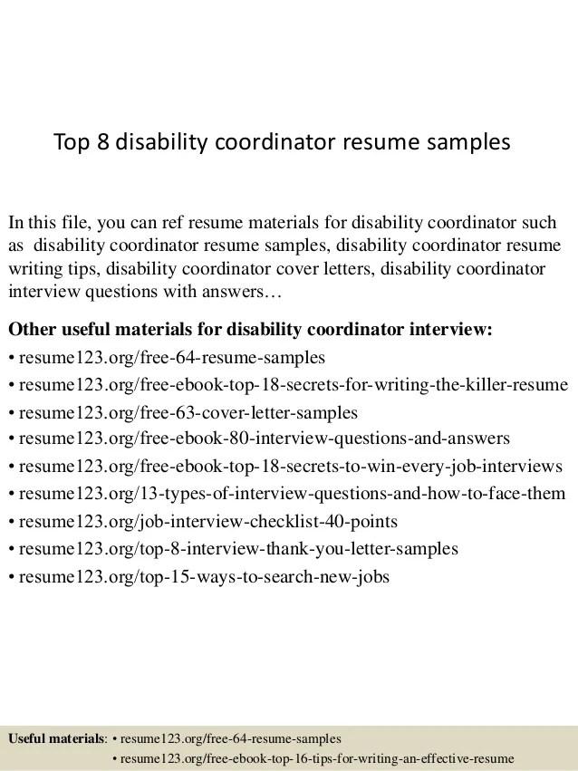 Top 8 disability coordinator resume samples