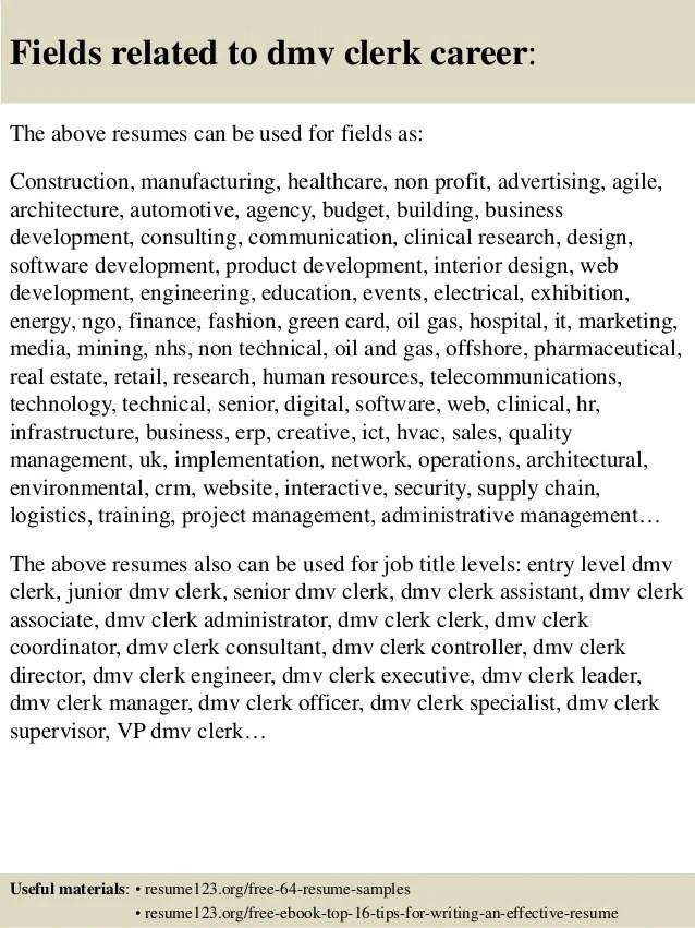 Top 8 Dmv Clerk Resume Samples