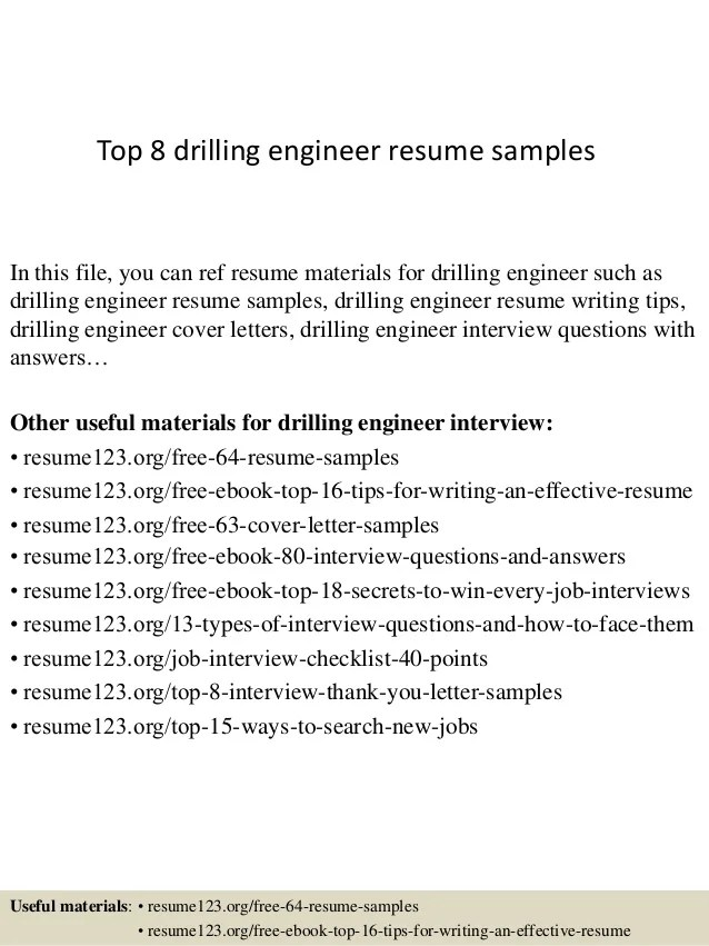 Top 8 Drilling Engineer Resume Samples