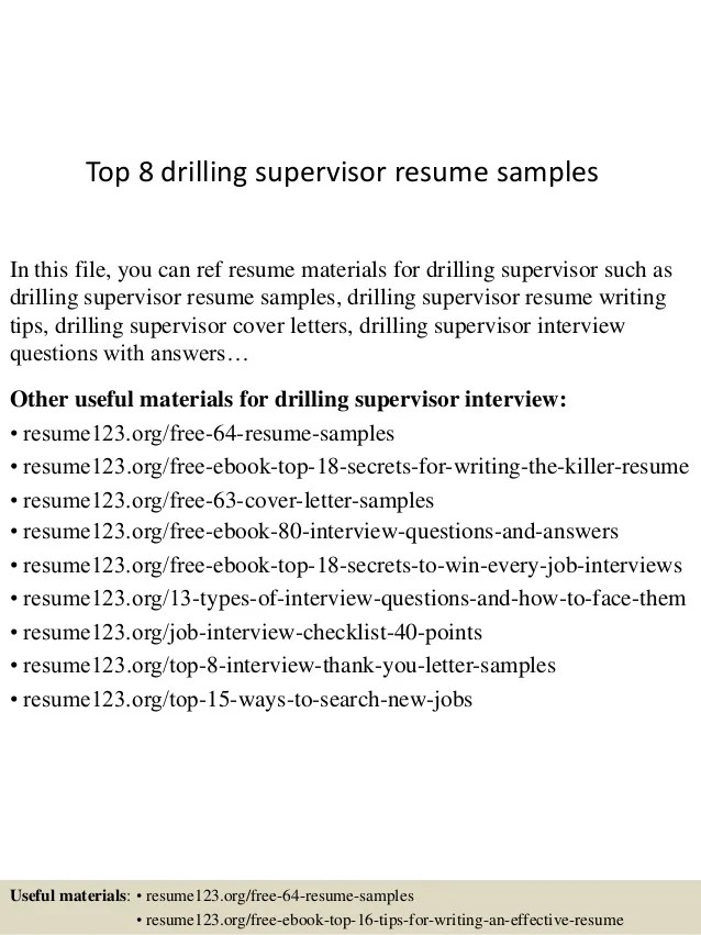 Top 8 drilling supervisor resume samples