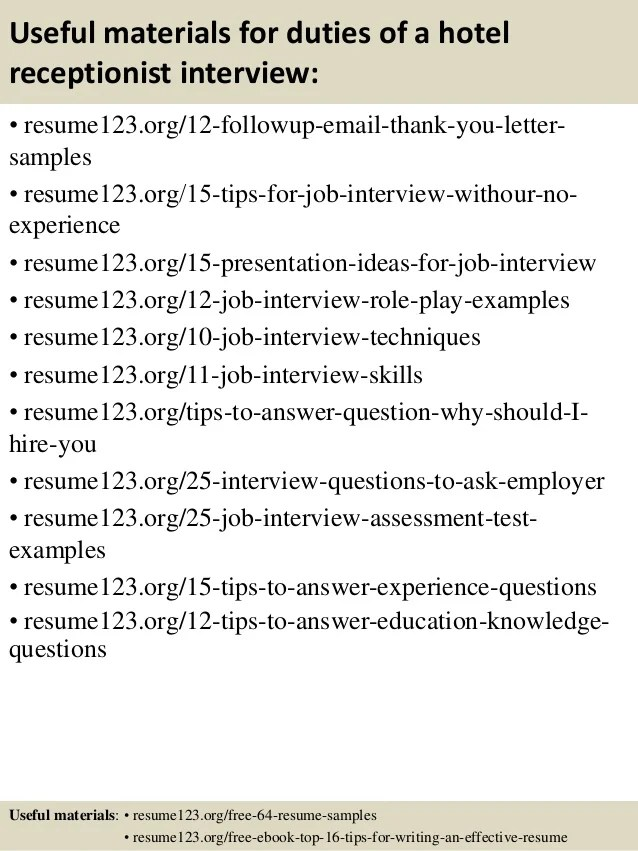 Top 8 duties of a hotel receptionist resume samples